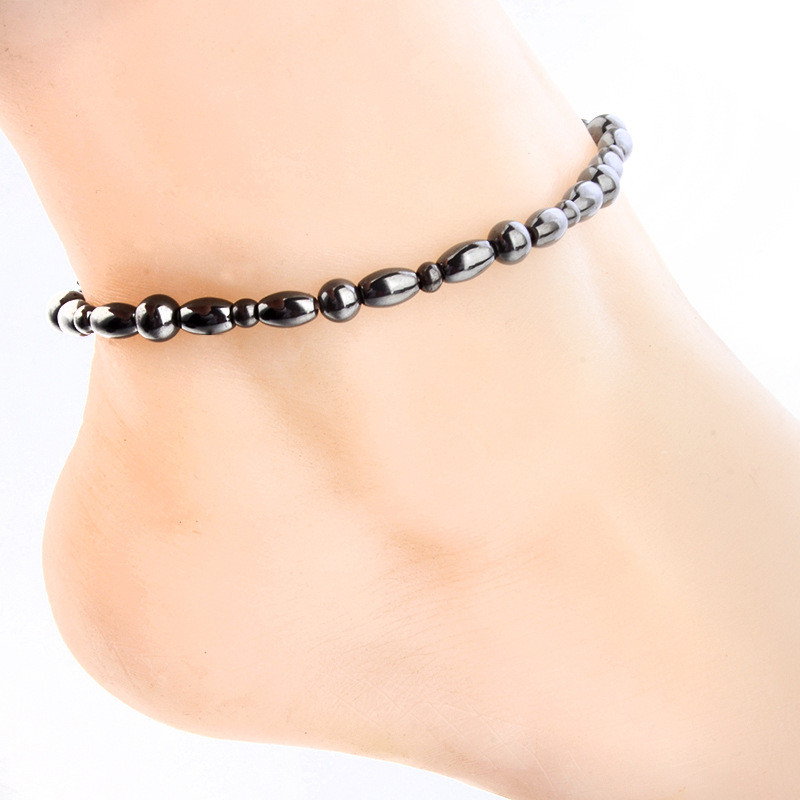 Modyle Magnet Anklet Black Stone Magnetic Therapy Anklet Weight Loss Product Health Care jewelry