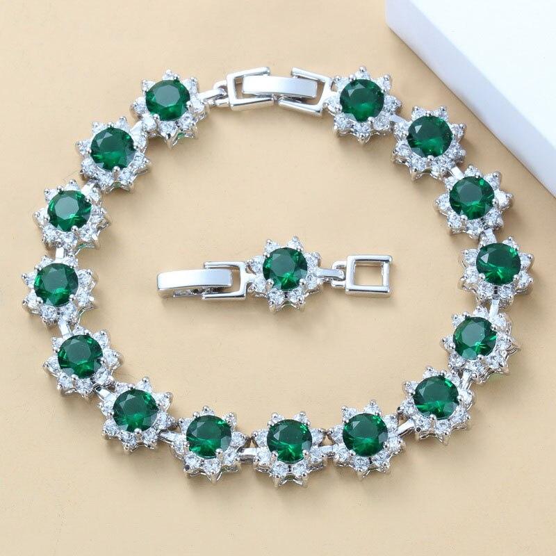 Простой Цветочный костюм натуральный серебристый цвет камень зеленый CZ Ювелирные изделия Регулируемая длина звено цепи браслет 21 см|Цепочки и браслеты| | АлиЭкспресс