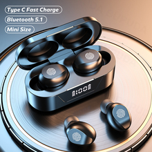 Bluetooth 5.1を備えたマイクを備えたワイヤレスヘッドセット,防水,ノイズキャンセリング,タイプC,充電