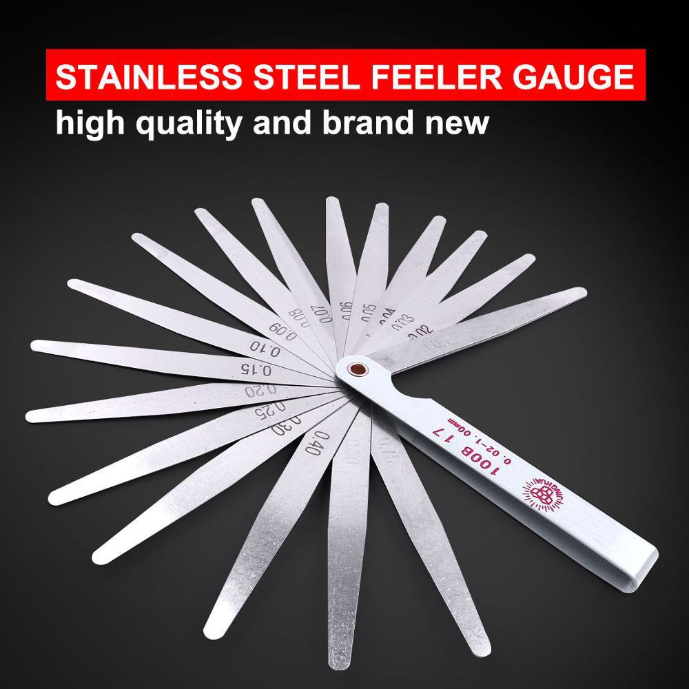 100mm Length Metric Feeler Gauge 0.02 To 1.00mm 17 Blade Thickness Gauge Set Stainless Steel Feeler Gauge for Gap Measuring Tool