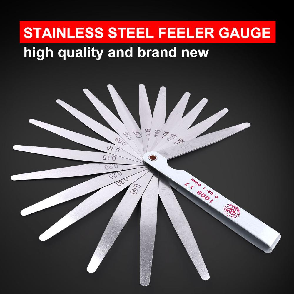 Stainless Steel Professional Metric Feeler Gauge 100mm 0.02-1.00mm Thickness 17 Blades Feeler Gauge for Gap Valve Measure Tool