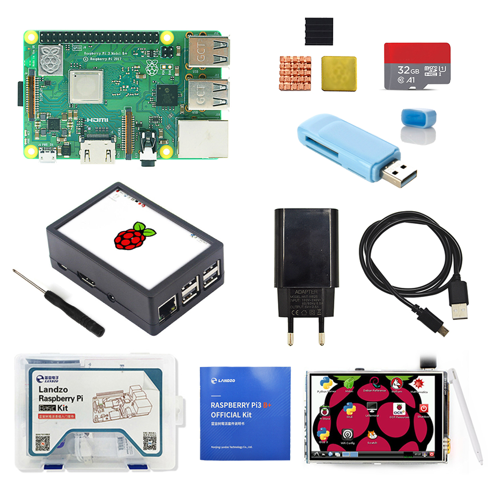 Raspberry Pi 3B+ 3.5 inch screen basis kit with Protective Case 32G TF card and multi card reader and heatsink EU power-in Demo Board from Computer & Office