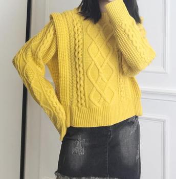 Żółty beżowy irlandzki kolor Twisted knit TAYLE sweter z okrągłym dekoltem długie rękawy wełniany dzianinowy dzianinowy 2019FW tanie i dobre opinie wool Wełna Akrylowe STANDARD Kobiety Komputery dzianiny Pełna Stałe Brak O-neck Swetry Puff rękawem Streetwear NONE