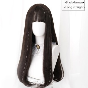 Image 3 - Uwowo Long Straight Black Brown Chololate Wig Cosplay Lolita Wigs Heat Resistant Synthetic Hair Anime Party wigs