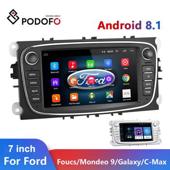 Podofo Android 8.1 Car Radios 2 Din GPS Car Multimedia player 7'' Auto Audio Player For Ford/Focus/S-Max/Mondeo 9/GalaxyC-Max image
