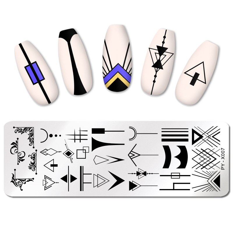PICT YOU Nail Stamping Plate Geometric Pattern Nail Art Image Plate Stainless Steel DIY Nail Stamp Templates Stencil Tools