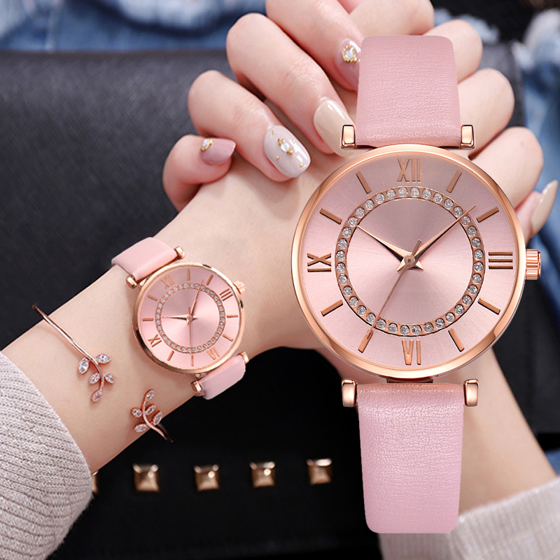 Vintage Leather Strap Quartz Watch For Women Fashion Dress Watch Casual Sports Pink Wrist Watch Relogio Feminino Drop Shipping