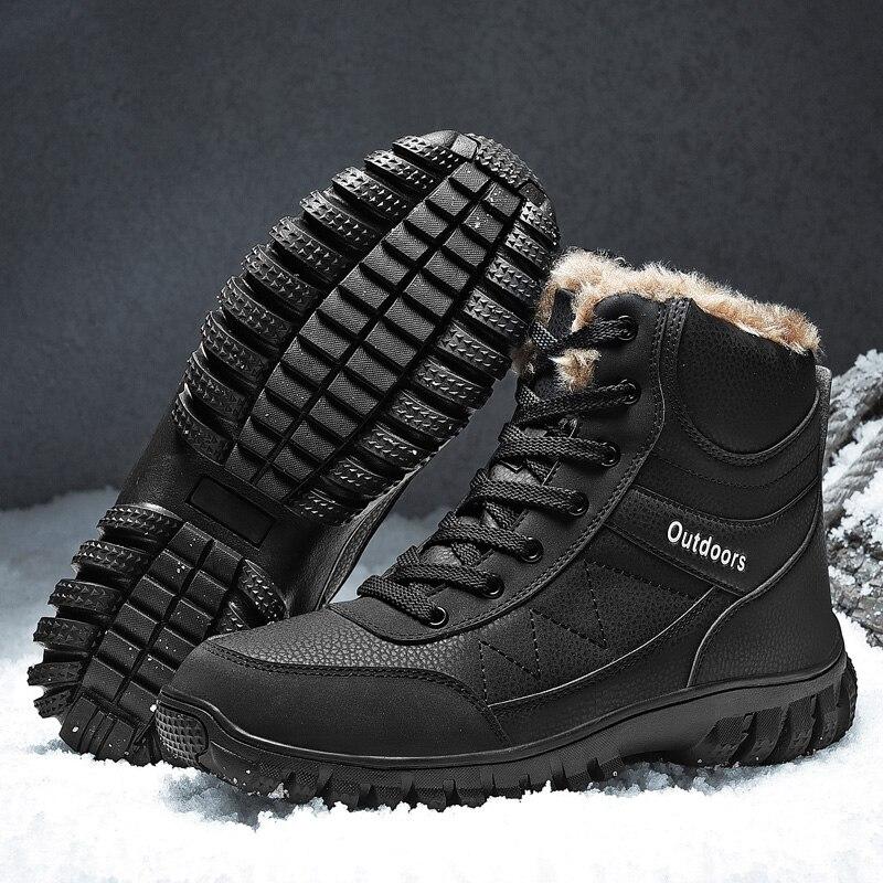Hemmyi Mens Boots Plus Velvet To Keep Warm Winter Snow Boots Men PU Lace-up Timber Land Boots Big Size 40-48 Zapatos De Hombre