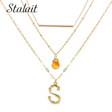 Bohemian 26 Letters Gold Color Initial Multi Layer Necklace Alphabet Natural Stone For Women Choker Friends Gift Jewelry