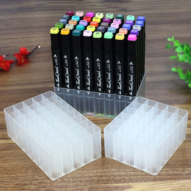 30/40 Slots Marker Pen Storage Holder Brush Pencil Rack Table Stand Organizer Multifunction Tool