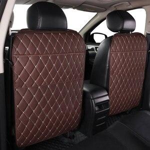 Image 3 - רכב מושב אחסון תיק PU שחור מיקרופייבר עור רכב מושב נגד בעיטת pad אוניברסלי רכב פנים עבור טויוטה KIA לאדה פורד יונדאי