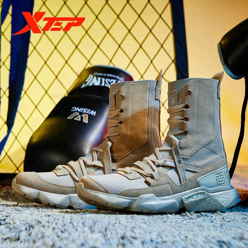 Xtep [Ali Boxing] Мужские Модные Повседневные кроссовки на шнуровке, серия Ali, прогулочная дышащая мужская обувь с высоким носком, мужская обувь 981219520859 - 2