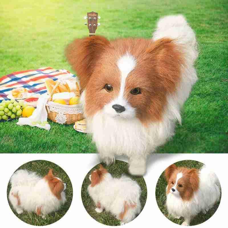 Realistic Lifelike Plush Papillon Dog Toy Large Dog Doll Animal For Kids K5M5