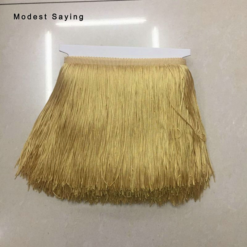 30 Yards Gold 20cm Lace Fringe Trim Tassel Fringe Trimming For DIY Latin Dress Evening Clothes Garment Accessories Lace Ribbon