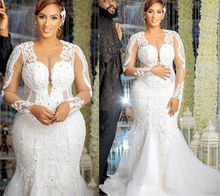 2021 Plus Size Arabic Aso Ebi Mermaid Lace Beaded Wedding Gowns Long Sleeves Sexy Vintage Tulle Bridal Dresses ZJ174
