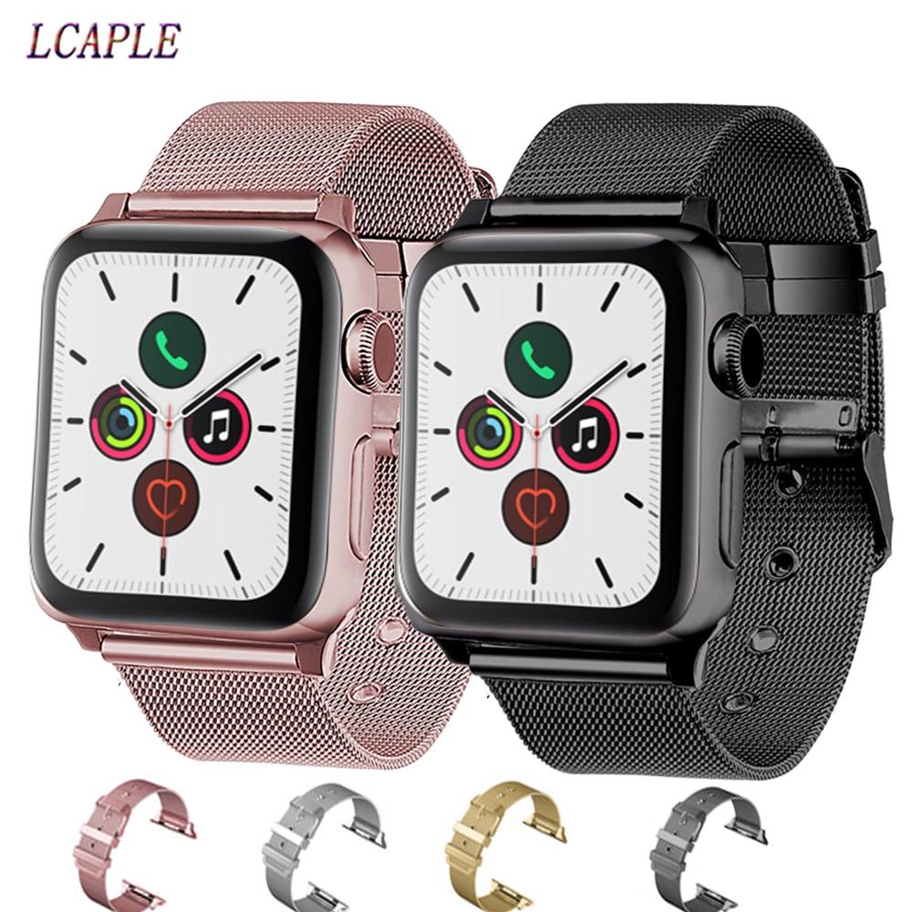 Banda de aço inoxidável para o laço milanês apple watch 5 4 3 2 relógio de pulso correa apple 44mm 38mm 40mm iwatch banda 42mm pulseira