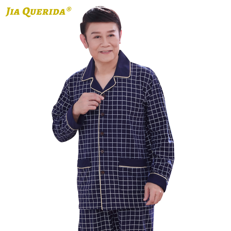 Pajamas Set Men Plaid Printing Homesuit Homeclothes Fashion Style Casua Style Long Sleeve Long Pants Father's Sleepwear Xxxxl