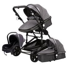 Passeggino 3 in 1 carrozzina da viaggio portatile carrozzine pieghevoli telaio in alluminio auto ad alto paesaggio per neonato babyboomero Poussette