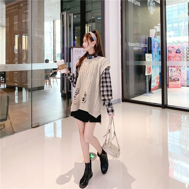 O-neck Long Knitted Women's Sweater Sleeveless Jacket Winter Warm Female Vest Korean Ruffle  For Women Fashion Loose Waistcoat