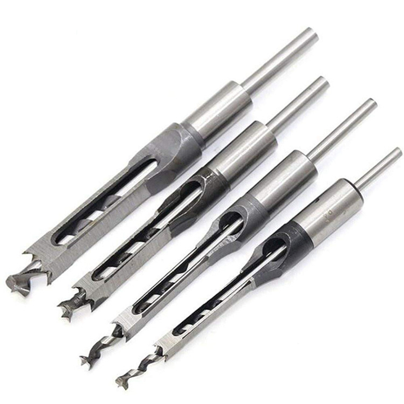 Woodworking Square Hole Punch Drill High-speed Steel Hollow Square Hole Saw Mortiser Chisel   Auger Drill Bit Woodworking Tool