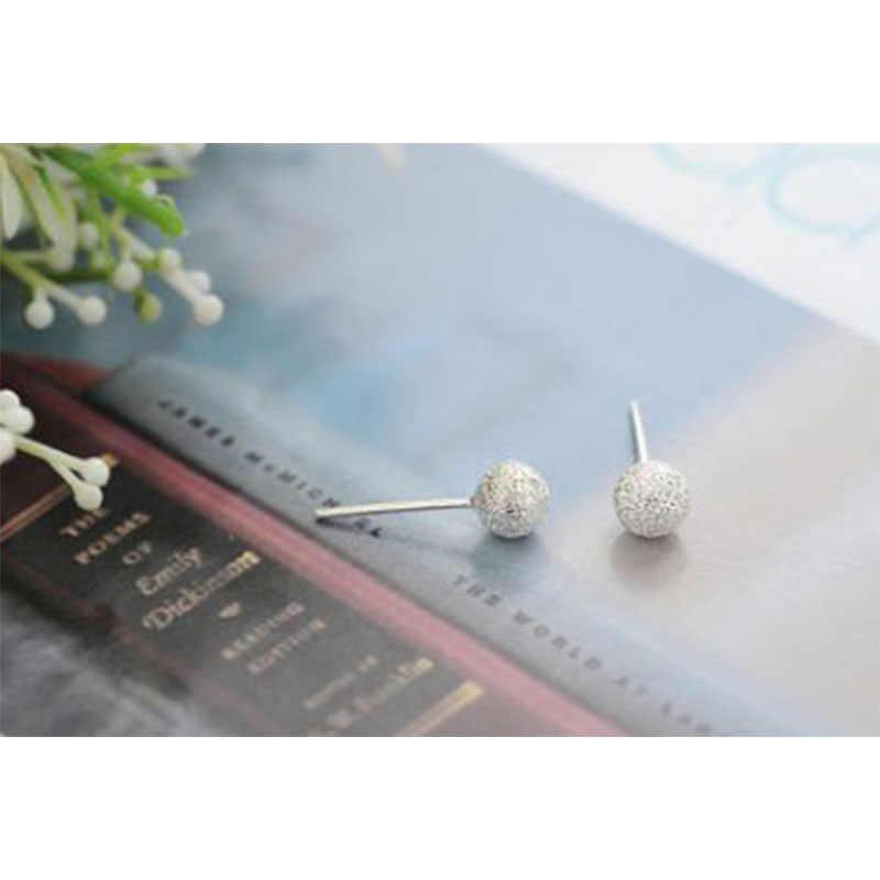 2019 nueva moda Simple bola esmerilada de plata pequeños pendientes mate para mujeres Piercing de oreja joyería regalo de fiesta al por mayor WD448