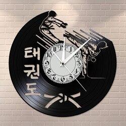 Kore dövüş sanatı Taekwondo sessiz saat Taekwondo müze eğitim merkezi söndürme duvar sanat Retro sessiz vinil kayıt duvar saati