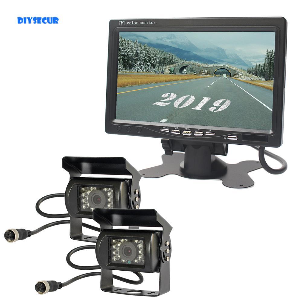 Камера заднего вида DIYSECUR, 12 в 24 в, 4 pin, 7 дюймов, TFT, ЖК дисплей, инфракрасная камера ночного видения, HD, для автобусов, грузовиков