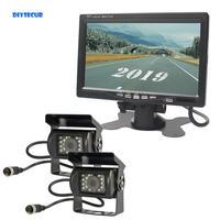 DIYSECUR 12V 24V 4pin 7inch TFT LCD Backup Car Monitor IR Night Vision HD Rear View Camera System for Bus Houseboat Truck