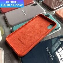 อย่างเป็นทางการLiquidซิลิโคนโทรศัพท์สำหรับIphone 12 11 Pro Max Mini X XS MAX XR 7 8 6S plus SE 2020ป้องกันปกเดิม