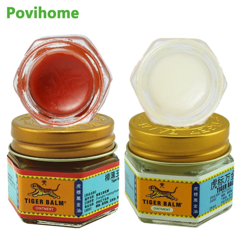 1pcs Red Tiger Balm Ointment+1Pcs White Tiger Balm 100% Original Thailand Back Pain Patch Anti Itch Herbal Cream Medical Plaster