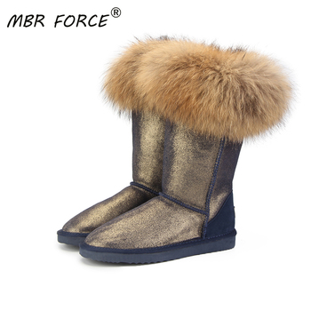 MBR FORCE Fashion Natural Real Fox Fur Women's Winter  Snow Boots Warm Long Boots Genuine Cow Leather High Winter Boots Women 2018 fashion natural cow suede split leather womans winter snow boots for women winter shoes warm fur high quality ankle boots