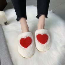 Купить с кэшбэком Indoor Warm Women Slippers Cute Love Winter Fur Home Shoe Female Girl Nonslip House Flat Slippers Soft Plush Indoor Footwear
