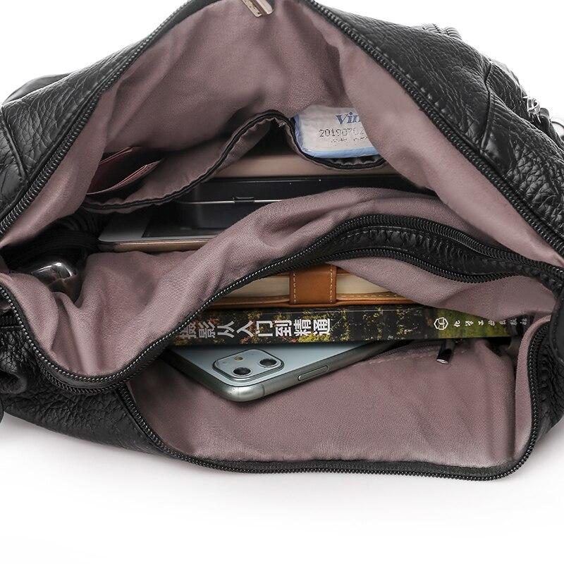 Women's bag large capacity soft PU leather handbag 2020 new trend ladies shoulder messenger bag gray 6