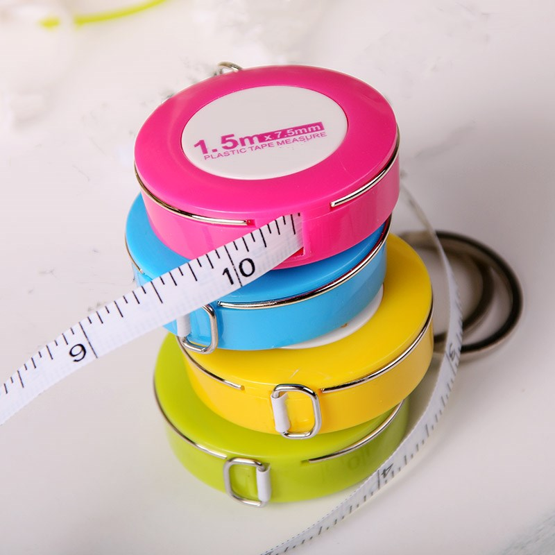 1 Piece Mini Ruler With Key Ring Colorful Measuring Rod Tape Cute Tape Measure Stretching Retractable Pull 1.5m Ruler