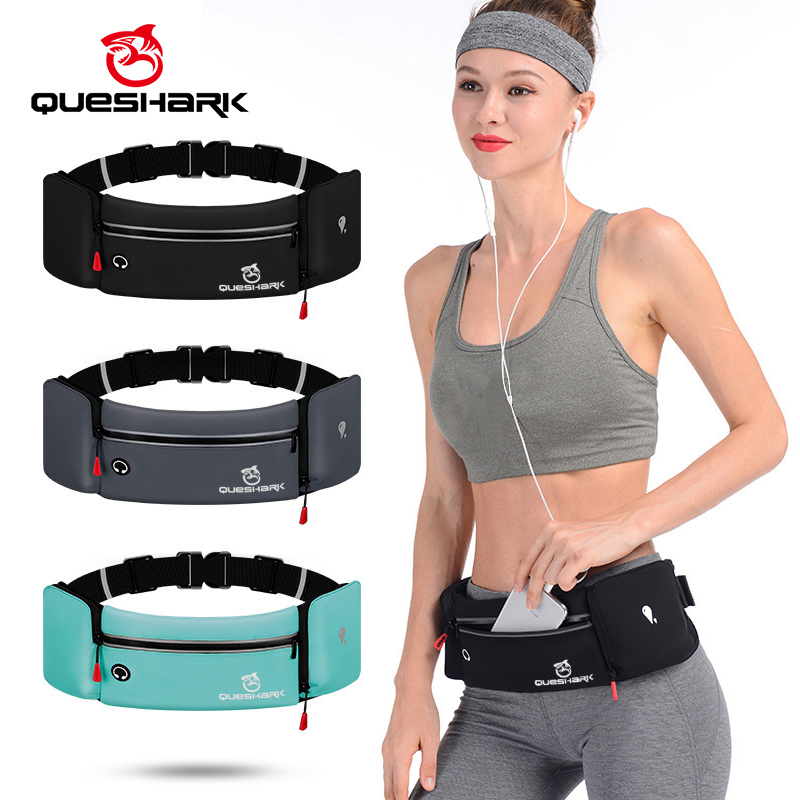 Queshark Waterproof Cycling Jogging Waist Bag With Water Bottle Waist Belt Pack Phone Bag Anti-theft Hiking Running Sports Bags