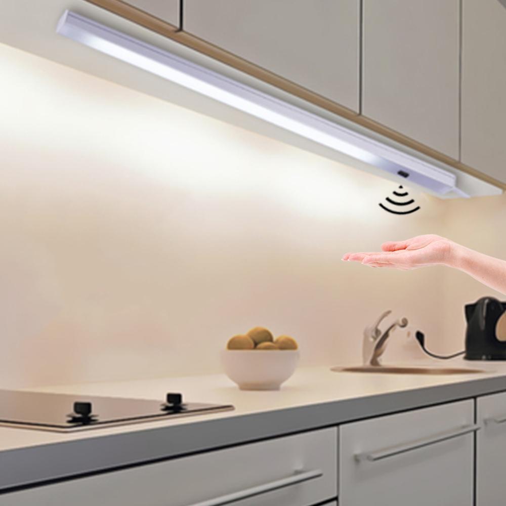 Three Colors Changeable LED Bar light Strip 9V Aluminum Tube Hand Scan  Sensor LED Kitchen Closet lights DIY Cabinet Backlight