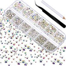 2000Pcs Crystals Strass Nail Rhinestones For Nail Stones Gems Jewelry Diamonds Art Decoration Accesoires Kit Nail Accessories
