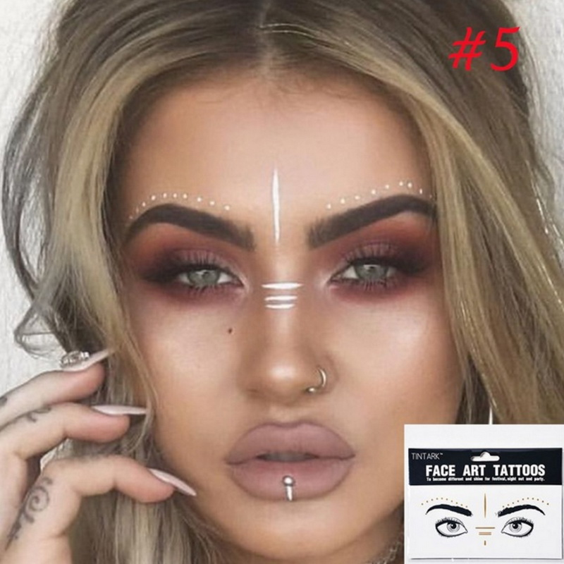 1Pack Disposable Flash Tattoos Fashion Gold Face Tattoo Stickers Waterproof Bronzing Beauty Freckles Makeup Art Body Paint Party