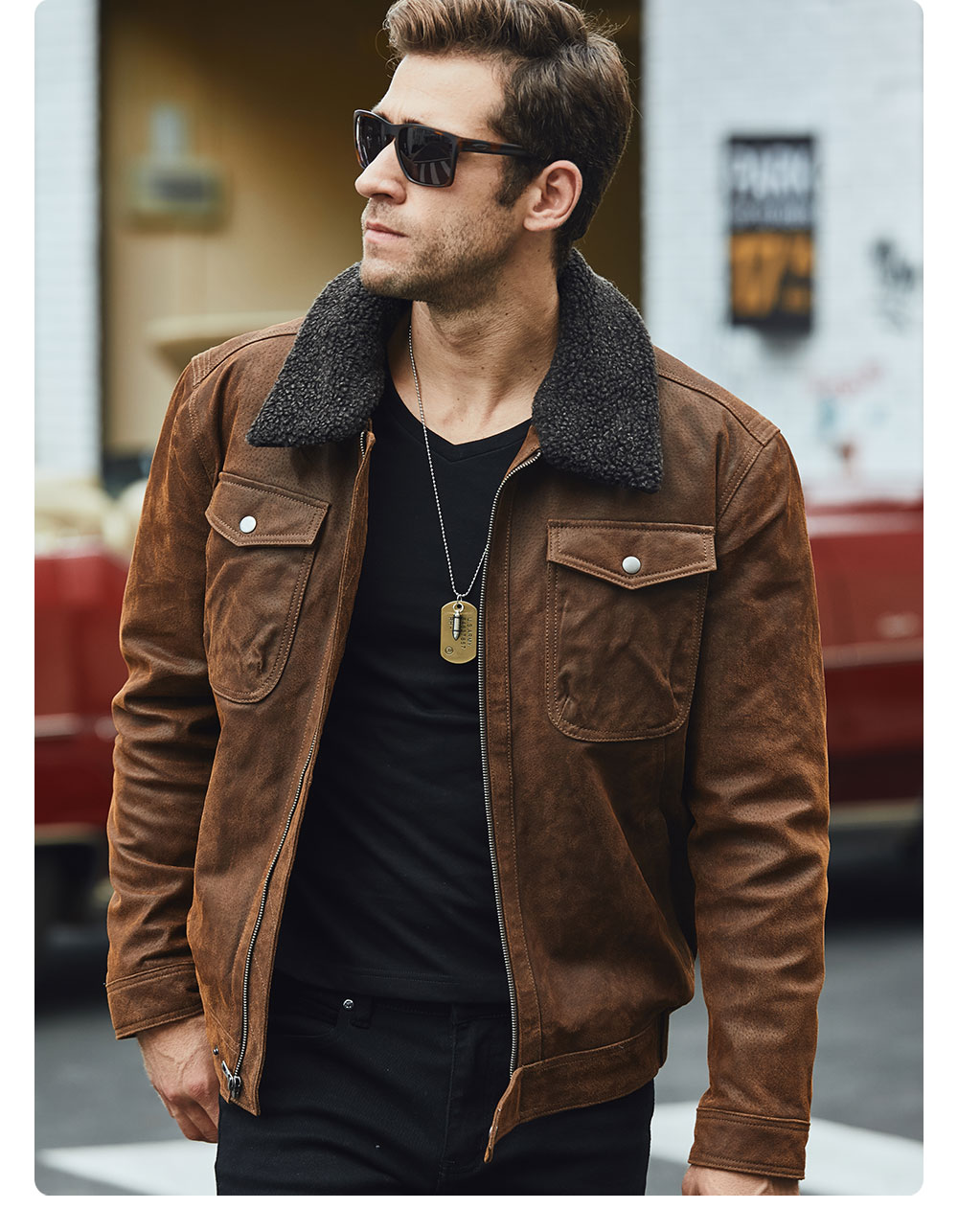 H65654670b431485280ed23a4bee053b4Q FLAVOR Men's Real Leather Jacket Genuine Leather jacket with faux fur collar male Motorcycle warm coat Genuine Leather Jacket
