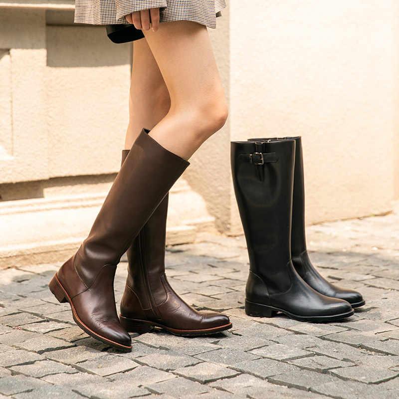 BeauToday diz yüksek çizmeler kadın hakiki inek deri yan fermuar yuvarlak ayak bayan kış moda uzun çizmeler el yapımı 01214