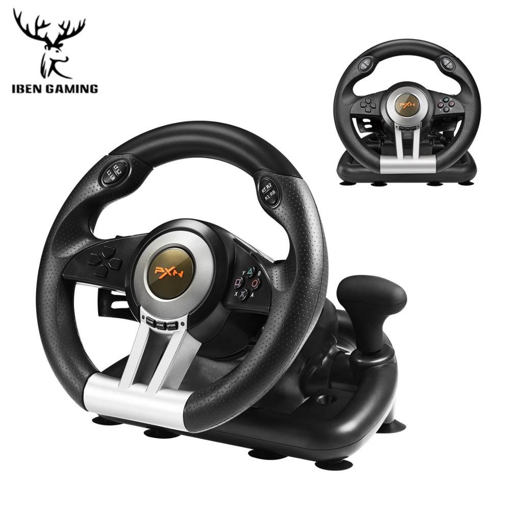 iBen PXN V3II Racing Game Steering Wheel USB Vibration Dual Motor with Foldable Pedal For PC/PS3/4/Xbox -One/Switch image