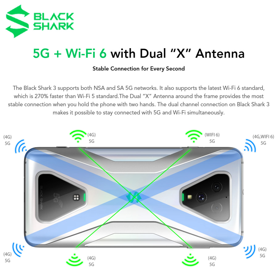 Closeout DealsBlack Shark Snapdragon 855 Xiaomi 2-Phone 128GB 6gb LTE/GSM/WCDMA/CDMA Adaptive Fast Charge