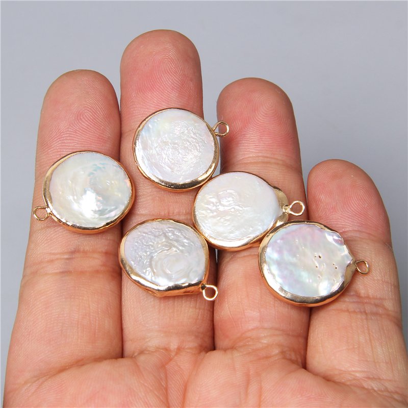 3pcs Natural round pearl pendants 17mm white Freshwater Pearl gold charm pendant for jewelry making necklace earring bracelet