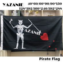 YAZANIE Blackbeard Edward Teach Pirate Flags and Banners Large Skull Headband Crossbones Brass Grommets Polyester Flag
