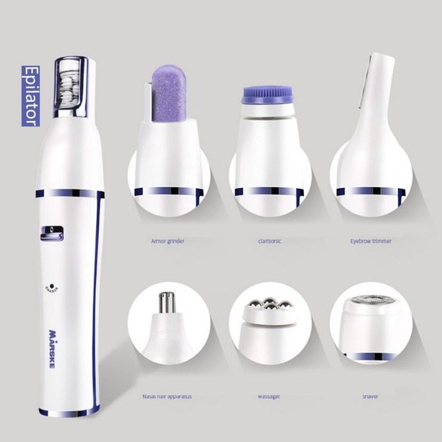 2019 7 In 1 Electric Epilator Shaver Eyebrow Nose Trimmer Electric Manicure Drills Facial Cleansing Brush Massager 3