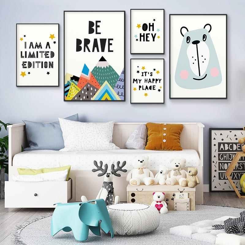 Baby Nursery Wall Art Funny Quote Canvas Posters Prints Cartoon Bear Mountain Painting Nordic Picture Children Bedroom Decor