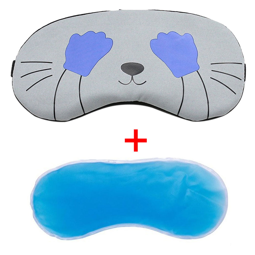 Office Cold Relaxing Ice Gel Eye Mask Shade Cartoon Gifts Comfort Cover School Home Travel Eyepatch Sleeping Aid Blindfolds