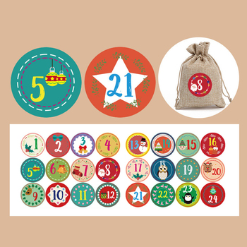 24Pcs/Set Merry Christmas Advent Calendar Number Paper Sticker Cookie Candy Seal Stickers Xmas Decoration DIY Packing Labels image