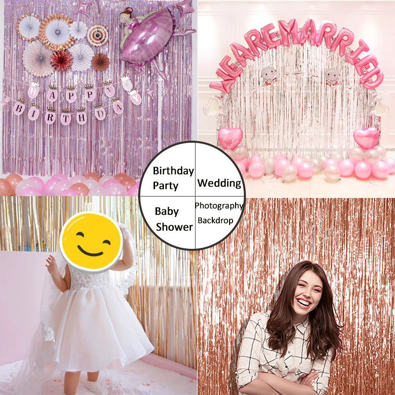 Image 2 - Party Favors Wedding Decoration Party Supplies Photozone Rain Tinsel Foil Curtain Birthday Party Wall Drapes Photo Zone BackdropParty Backdrops   -