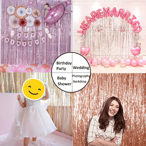 Image 2 - Party Favors Wedding Decoration Party Supplies Photozone Rain Tinsel Foil Curtain Birthday Party Wall Drapes Photo Zone Backdrop
